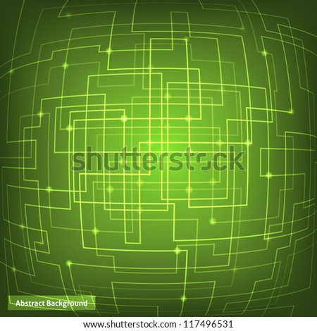 Green virtual technology circuit background. This vector image is fully editable. - stock vector