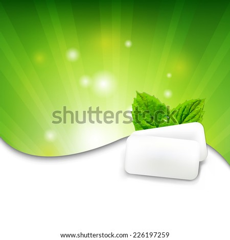 Green Wall With Mint Gum With Gradient Mesh, Vector Illustration - stock vector