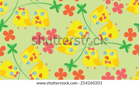 Green wallpaper with yellow chickens. Easter chicks  patterns  - stock vector