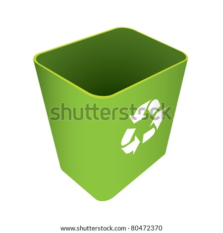 Green waste recycle can or bin with symbol - stock vector