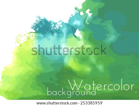 Green watercolor background with green colors, bright decision for business purposes. - stock vector