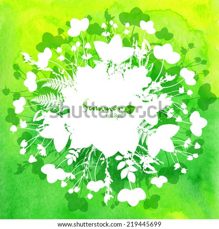 Green watercolor background with white leaves silhouettes - stock vector