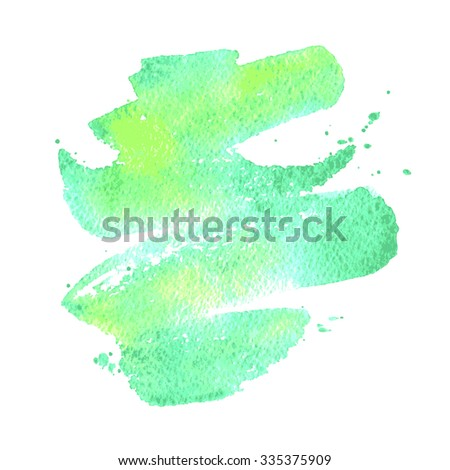 Green watercolor brush stroke background. Hand painted texture, vector illustration. Template for your design. Backdrop for scrapbook elements. - stock vector