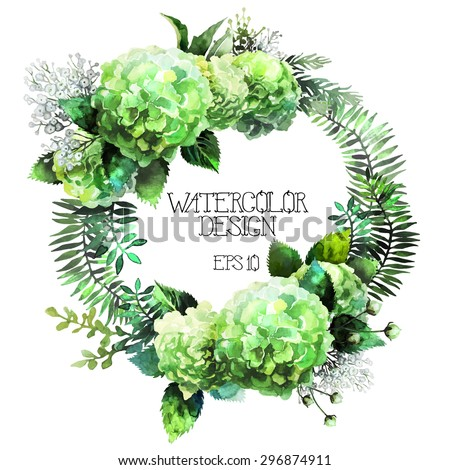 Green watercolor  hydrangea wreath. Vector frame isolated on white background - stock vector