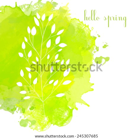 Green watercolor splash with white traces of branches of leaves. Vector spring background - stock vector