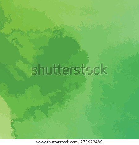 green watercolor texture background, hand painted vector illustration - stock vector