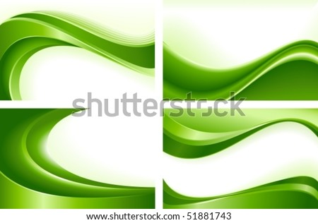 Green wave templates. Use of blends, clipping masks, linear and radial gradients, global color swatches. Artwork grouped and layered. - stock vector