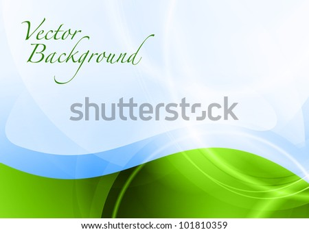 green wave under the blue abstract sky - stock vector