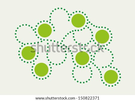 green wavy lines from squares and circles