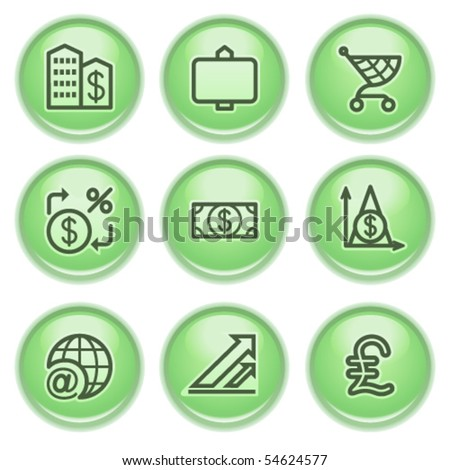 Green web buttons 23 - stock vector