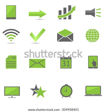 Green web icon set, technology concept. Vector illustration