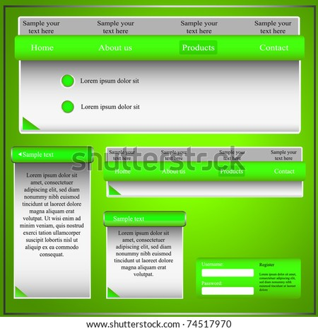 Green web template with forms, bars and buttons. Vector illustration
