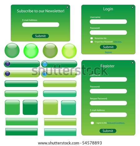 Green web template with forms, buttons and bars. - stock vector