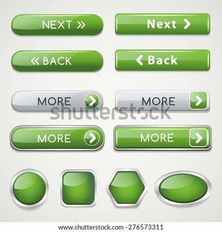 Green Website Icon Set : Vector Illustration - stock vector