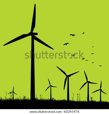 Green windmills. - stock vector