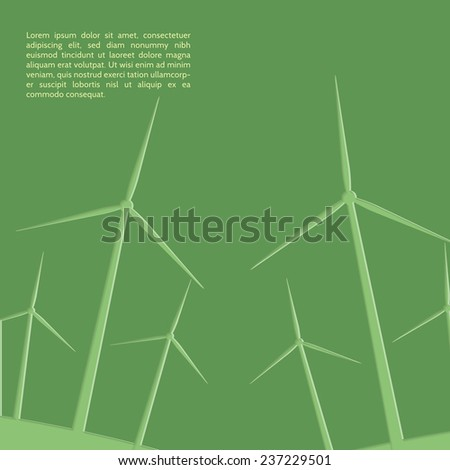 Green windmills. Paper cutout stylie eco concept. - stock vector