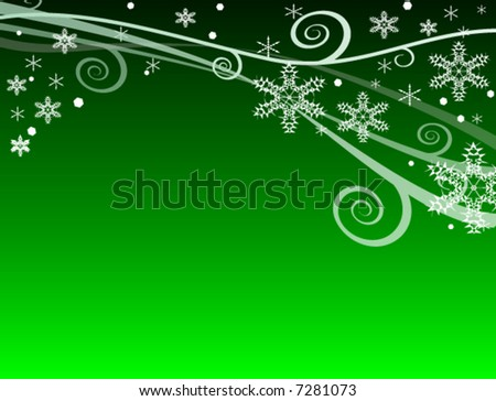 Green Winter Snowflake Background for Christmastime (vector) - stock vector