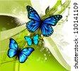 green with butterflies - stock vector