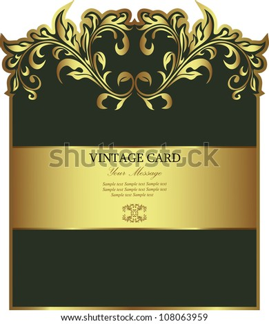Green with gold floral label. Vector.