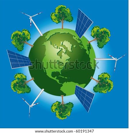 Green world concept with windturbine, solar panel and tree - stock vector