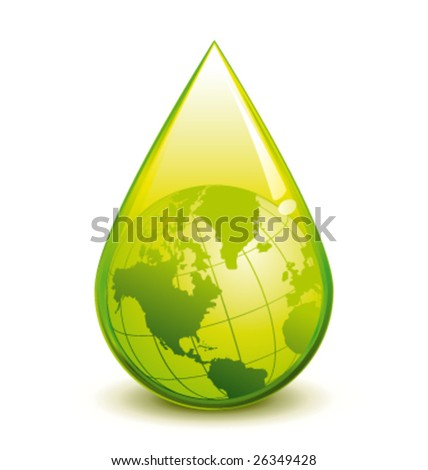 Green world in a droplet vector illustration - stock vector