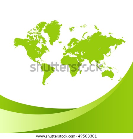 Green world map background. Vector illustration, isolated on a white. - stock vector