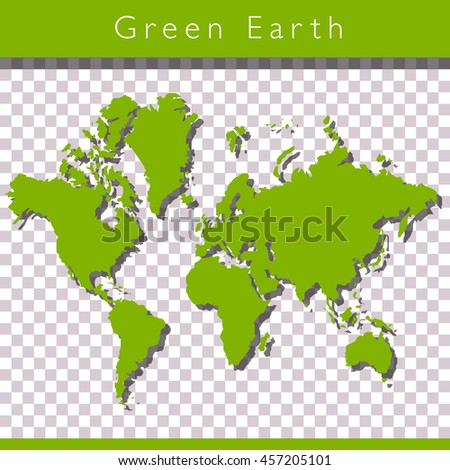 Green world map with space for text - stock vector