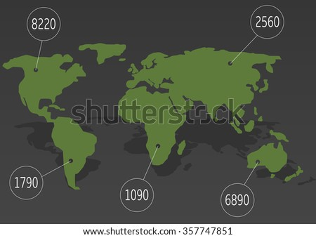 Green World map with white pointers. Vector illustration - stock vector