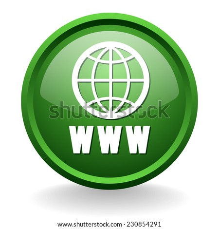 Green world wide web button on white background - stock vector