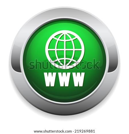 Green world wide web button with metallic border - stock vector