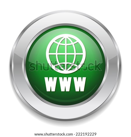 Green world wide web button with metallic border on white background - stock vector