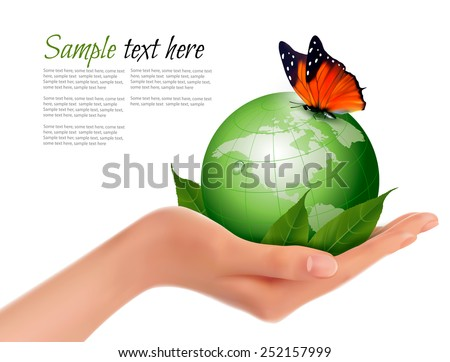 Green world with leaf and butterfly in woman hand. Vector illustration. - stock vector