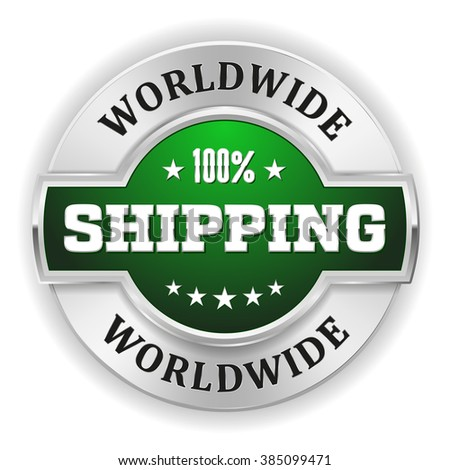 Green worldwide shipping badge with silver border on white background
