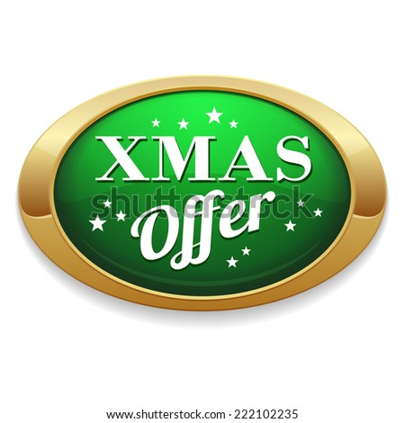 Green xmas offer button with gold border on white background - stock vector