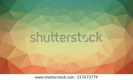 green, yellow and red abstract background  of triangles for web design - stock vector