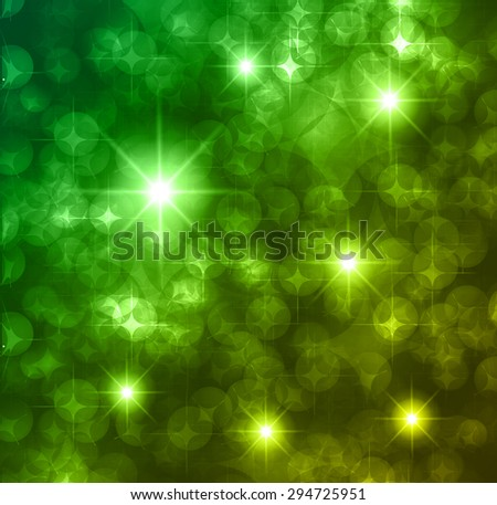 green yellow Defocused Light, Flickering Lights, Vector abstract festive background with bokeh defocused lights. star. - stock vector