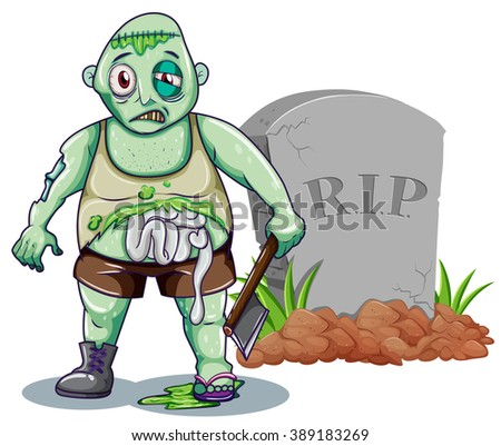 Green zombie with axe at the gravestone illustration