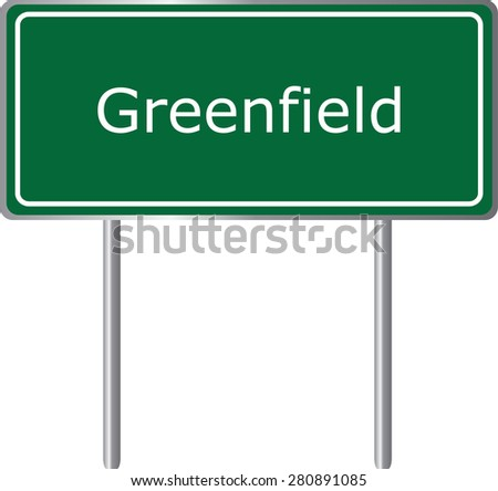 Greenfield , California, road sign green vector illustration, road table, USA city - stock vector