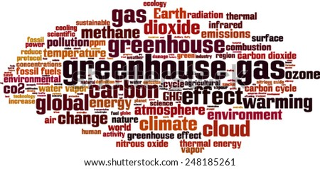 Greenhouse gas word cloud concept. Vector illustration - stock vector