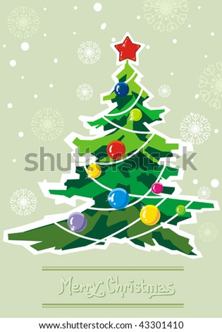 Greenish winter background with Creative Christmas tree. New-Year's greeting sweet postcard with stars and snowflakes. Vector illustration. - stock vector