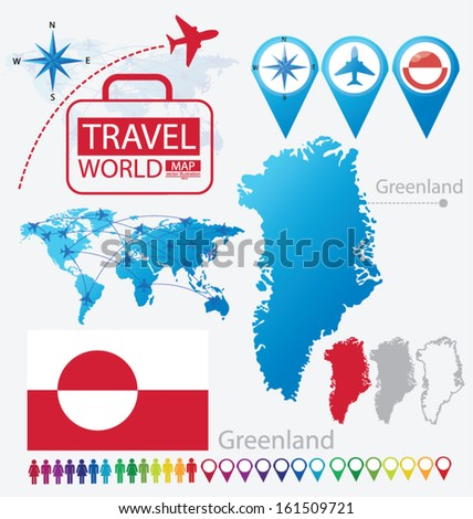 Greenland. flag. World Map. Travel vector Illustration.