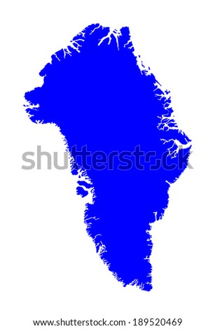 Greenland vector map isolated on white background. High detailed silhouette illustration. - stock vector