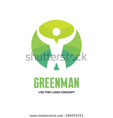 Greenman - vector creative logo. Vector logo template. Human logo. Human icon. Human character illustration. Design element. - stock vector