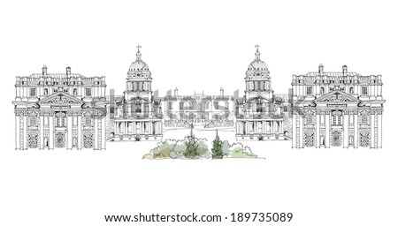 Greenwich view, Royal Navy collage, Royal chapel and Queen's palace, London, Sketch collection  - stock vector