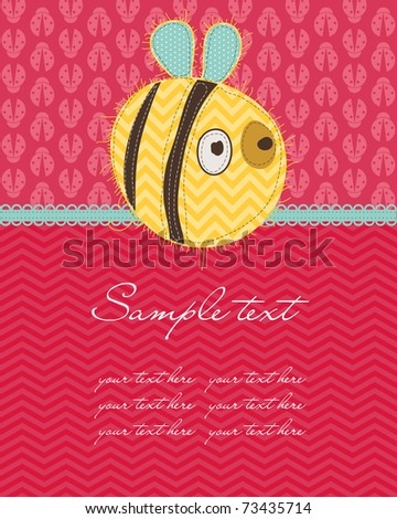 Greeting baby card with Bee - stock vector