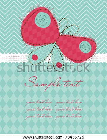 Greeting baby card with Butterfly - stock vector