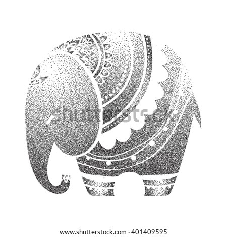 Greeting Beautiful card with Elephant Frame of animal made in vector Elephant Illustration for design pattern? textiles Hand drawn map with Elephant Bright print on t-shirt cup canvas and other object - stock vector