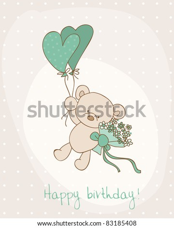 Greeting Birthday Card with Cute Bear - stock vector