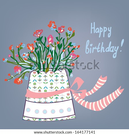 Greeting birthday card with flowers, pot, bows  - stock vector