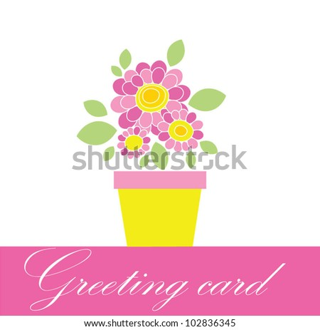 Greeting bouquet with daisy - stock vector